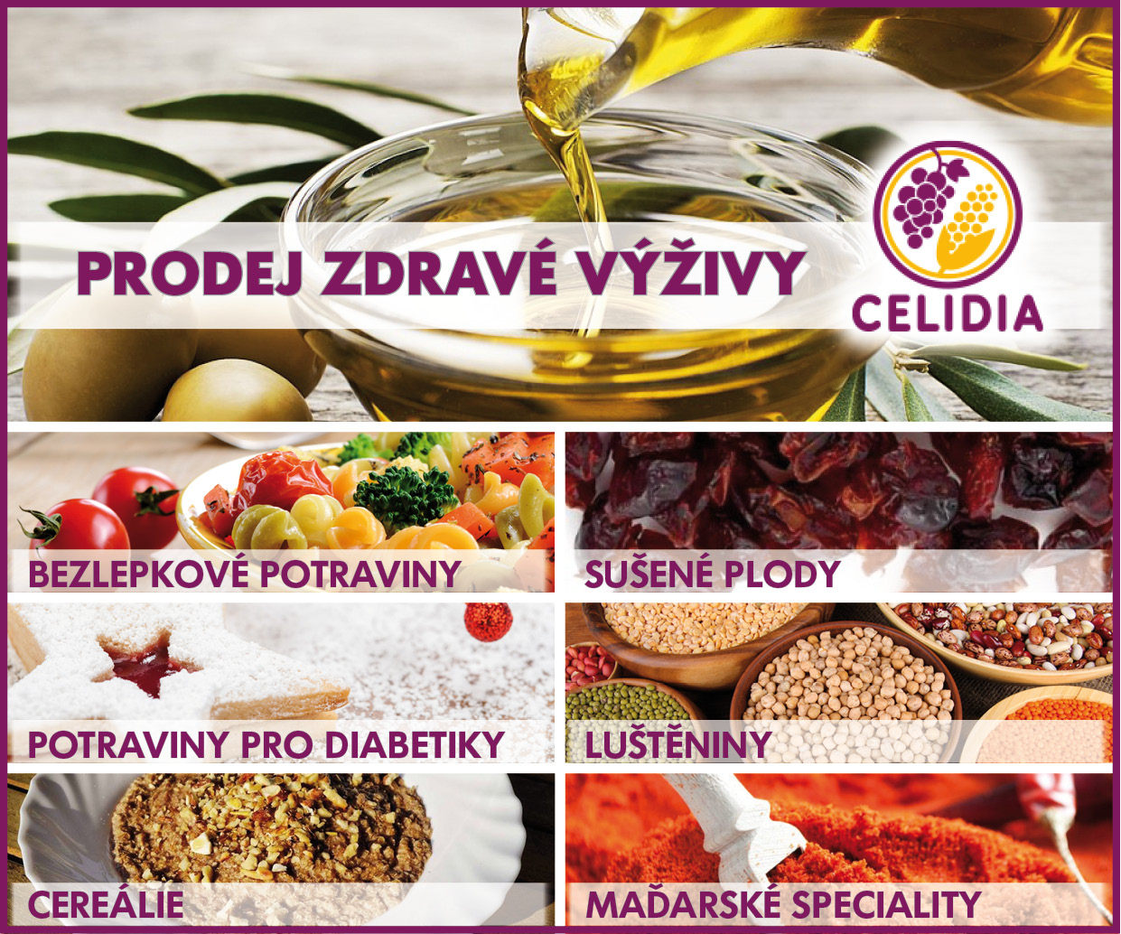 Prodej zdravé výživy, bezlepkových potravin a potravin pro diabetiky – eshop Celidia.cz