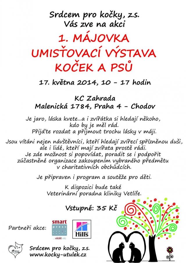 1. Májovka v Praze: umísťovací výstava opuštěných koček a psů