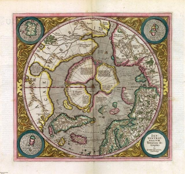 Mercator, Gerhard, mapa Arktidy z Atlasu Gerharda Mercatora, 1631, zdroj: Mapová sbírka Přírodovědecké fakulty UK