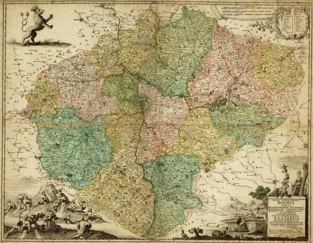 Vogt, Mauritius, Nová mapa Království českého, 1712, zdroj: Mapová sbírka Přírodovědecké fakulty UK