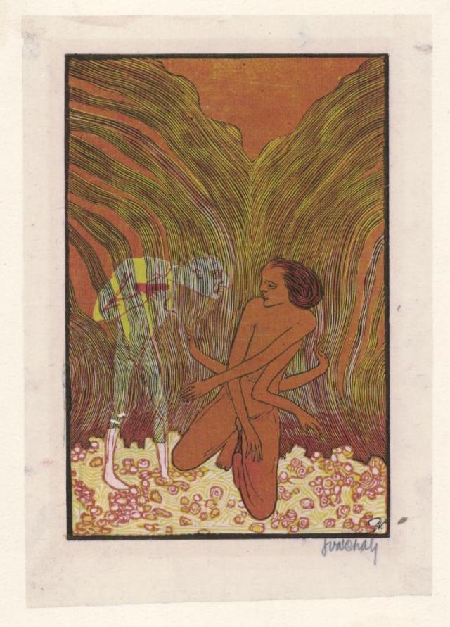 Josef Váchal, Hrůza, kol. 1913, barevný dřevoryt, papír, 15,2 x 10 cm, US PNP, foto Galerie hlavního města Prahy
