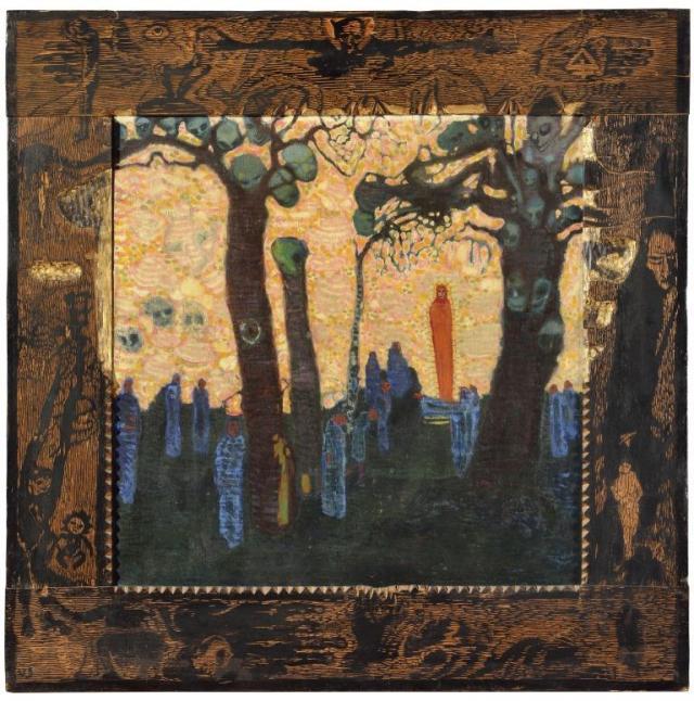 Josef Váchal, Vzývači ďábla, 1909, olej, plátno, vyřezávaný rám, 95 x 94 cm, GMU Hradec Králové, foto Galerie hlavního města Prahy