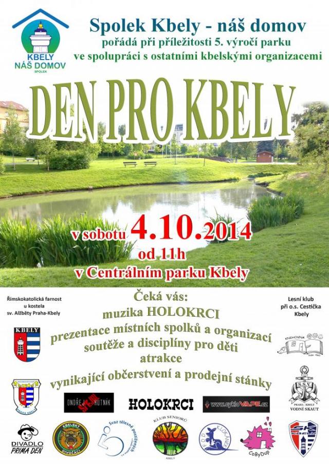 Den pro Kbely je zorganizován k sousedskému klábosení, radování se a soutěžím. Nenechte si ujít slavnost uspořádanou k 5. výročí Kbelského parku s názvem Den pro Kbely.