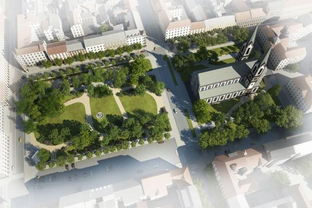 Vizualizace plánované revitalizace Karlínského náměstí, foto ÚMČ Praha 8