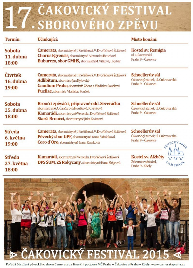 Jednotlivé koncerty se budou konat v kostele sv. Remigia v Čakovicích, kostele sv. Alžběty ve Kbelích a v Schoellerově sále čakovického zámku. Více informací – viz přiložená pozvánka.