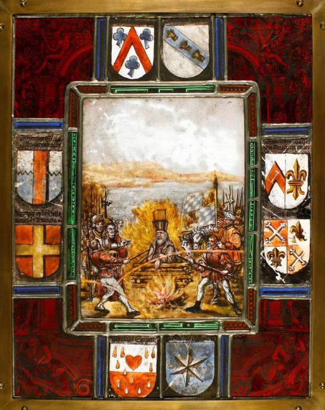 Vitraj s výjevem upálení mistra Jana Husa a osmi šlechtickými erby, foto Národní muzeum