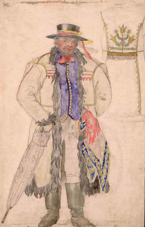 F. Kysela, kostýmní návrh Kecala z Prodané nevěsty, foto Národní muzeum