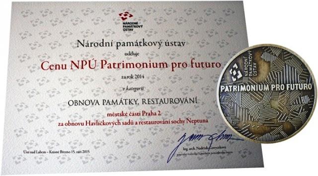 Praha 2 získala cenu Patrimonium pro futuro za návrat sochy Neptuna před Grottu
