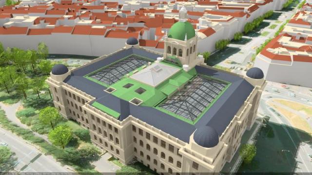 Celkový pohled na Historickou budovu NM po rekonstrukci. Vizualizace: Ing.arch.Zdeněk Žilka a Jiří Gregor