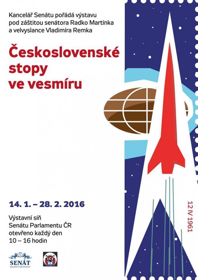 Vesmírná výstava filatelisty Petra Fencla  je přístupná v Senátu, foto Senát PČR