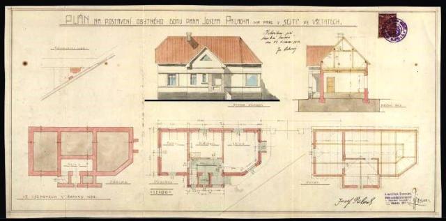Plán na postavení domu pana Josefa Palacha, foto Národní muzeum