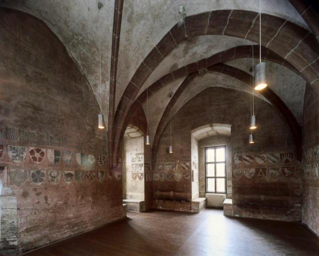 Lauf, královská rezidence Karla IV. nedaleko Norimberku, pohled do trůnního sálu, kolem 1360, foto Radovan Boček.