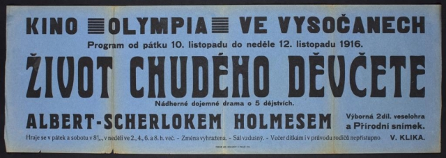 Program kina Olympia ve Vysočanech (v ulici Na Břehu čp. 260), rok 1916, MMP