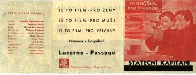 Propagační leták k premiéře amerického filmu Stateční kapitáni v biografech Lucerna a Passage, 1937, MMP