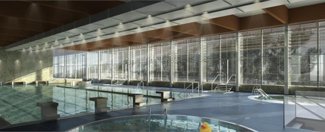 Vizualizace krytého bazénu, autor: Ing. arch. Borek Strádal
