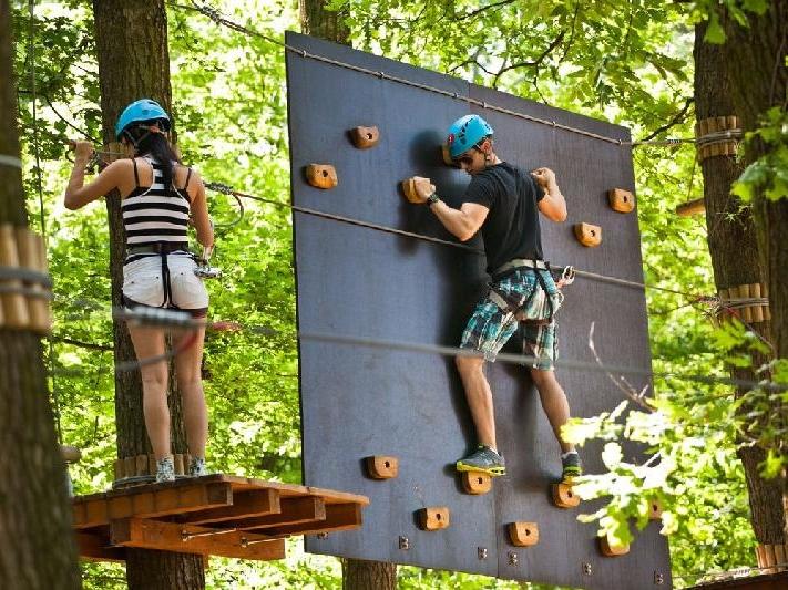 Hned vedle areálu lázní se nachází Adventure park, kde si v pěkném lesním prostředí dospělí i děti užijí adrenalinové atrakce. Foto Sárvár