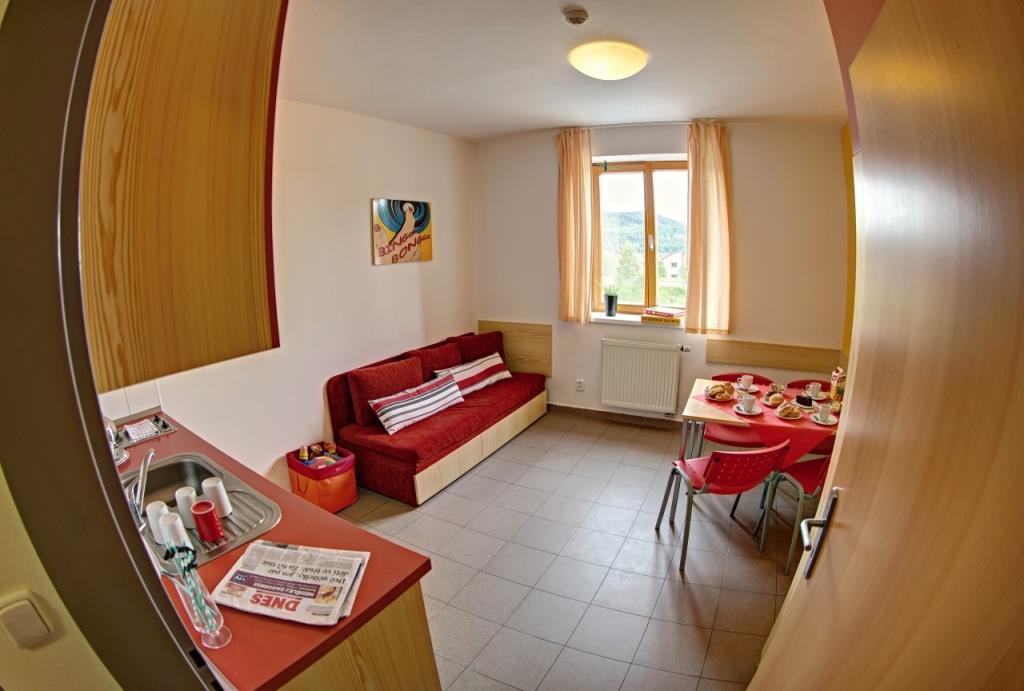 Všechny apartmány mají kuchyňku, velkou ložnici, samostatné sociální zařízení a koupelnu se sprchovým koutem nebo vanou.