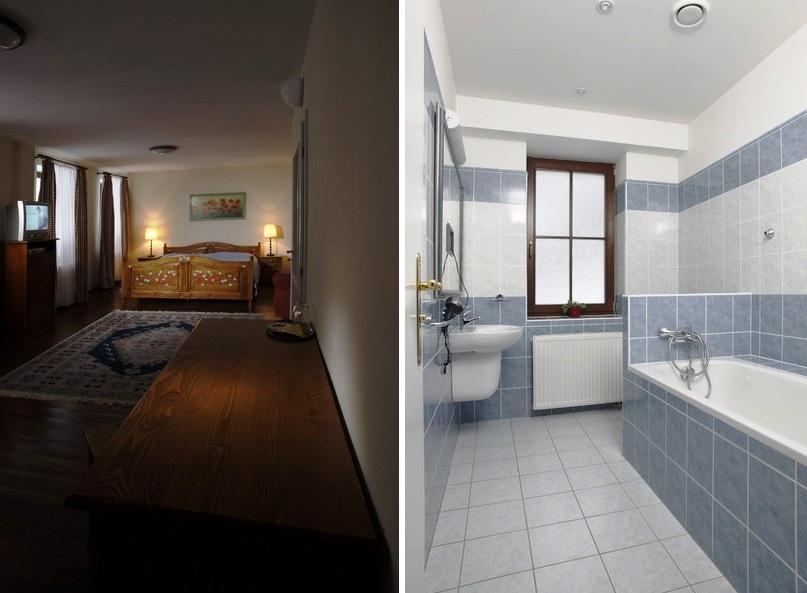V hotelu Kolowrat je k dispozici 5 komfortních samostatných dvoulůžkových pokojů s možností přistýlky.