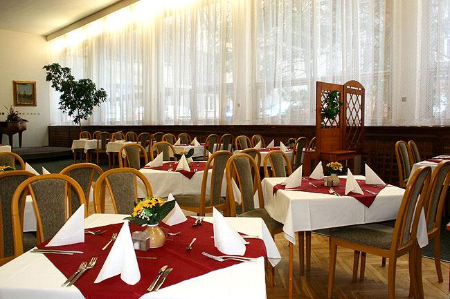 V restauraci hotelu Polonia pro 180 hostů podáváme snídaně, obědy a večeře pro hotelové i pasantní hosty. Vybrat si můžete z hotových jídel, minutkových pokrmů, specialit, zeleninových salátů. Foto hotel Polonia