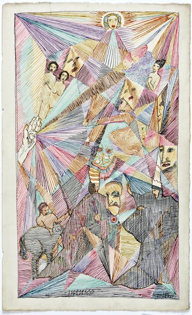Josef Váchal, Intuice, 1914, barevná tuše, papír, 35,5 x 21,7 cm, Moravská galerie v Brně, foto Galerie hlavního města Prahy