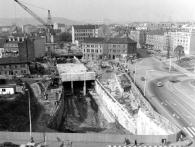 Stavba hloubené stanice Pražského povstání na náměstí Hrdinů, foto archiv DPP