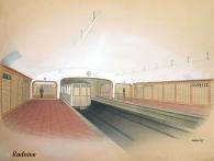 Vizualizace stanice Radnice navržené v místech dnešní stanice Staroměstská z roku 1941