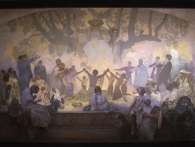 "Přísaha ""omladiny"" pod slovanskou lípou, 1926 (nedokončeno), vaječná tempera, olej, plátno, 405 x 480 cm, foto GHMP"