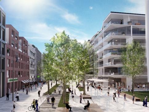 Praha 5 vyhlásila mezinárodní architektonickou soutěž na novou školu, Vizualizace Smíchov City: Sekyra Group