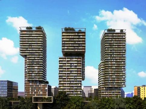 STRABAG realizuje projekt budovy Triiiple ve Vídni: Tři stometrové obytné věže, foto: STRABAG