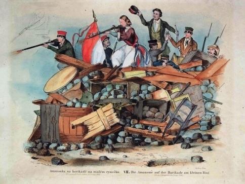 Bedřich Anděl – rytec, František Roscher – inventor, Amazonka na barikádě na Malém rynečku, 1848, kolorovaná litografie, 278 x 390 mm, DR 4967, foto: ng.cz