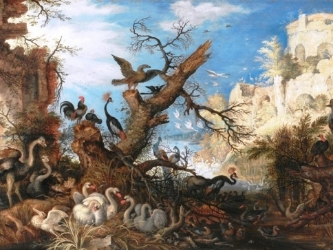 Foto: Roelandt Savery, Krajina s ptáky / Lanscape with Birds, 1622, ngprague.cz