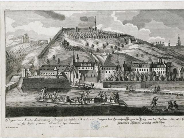 Friedrich Bernhard Werner-pohled na-Malou Stranu a Petřín, 1712, mědirytina, foto Muzeum hlavního města Prahy