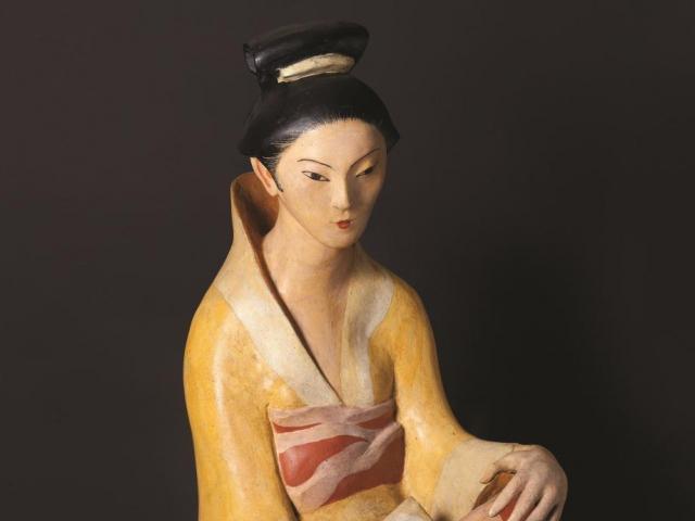 Otto Gutfreund Japonka, 1922, polychromovaná pálená hlína, foto © Národní galerie v Praze