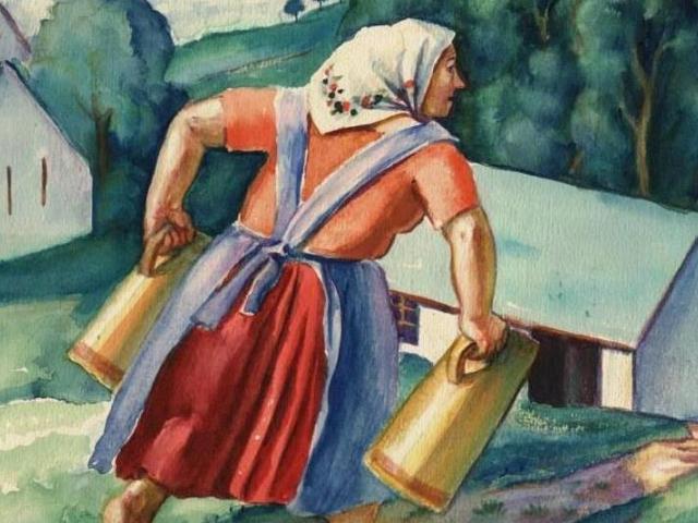 Erwin Müller, Žena se džbány, kolem 1930, akvarel, papír, soukromá sbírka, foto OGL