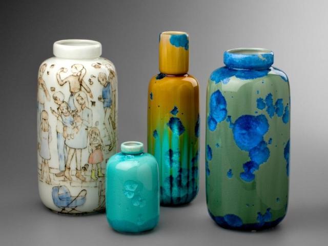 Milan Pekař – Vázy s krystalickými glazurami a vázy Smartphone Dynasty, foto Designblok