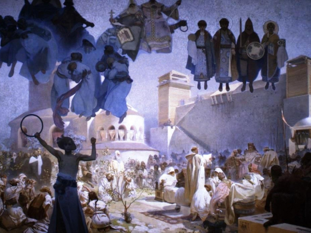 Zavedení slovanské liturgie 1912, vaječná tempera, olej, plátno, 610 x 810 cm, foto GHMP
