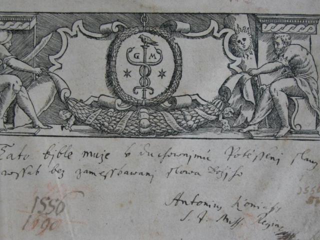 Melantrichova Biblí česká (1567) s cenzurním přípisem A. Koniáše, foto NM