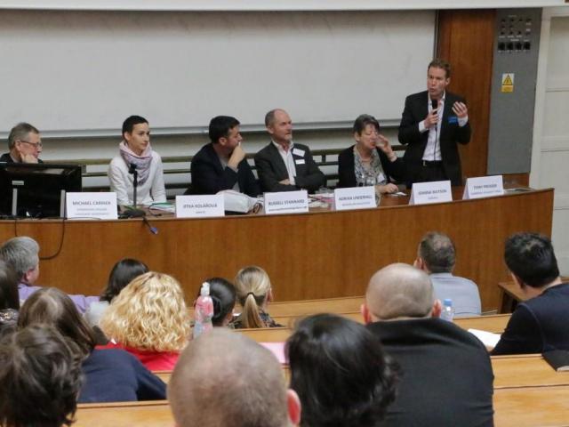 Konference v roce 2015 Moderní trendy ve výuce jazyků, účastníci panelové diskuse. Foto AJŠ