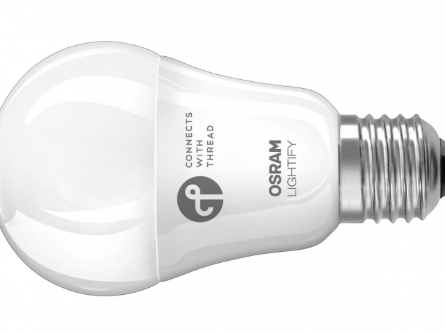 První inteligentní světelný zdroj LED ovládaný síťovým protokolem Thread. Foto Osram