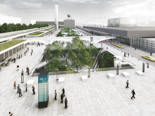 Výstava představuje návrhy budoucího řešení přednádraží Letiště Václava Havla Praha. Foto IPR Praha