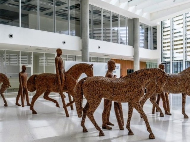 V Enterprise Office Center jsou k vidění sochy Michala Gabriela vytvořené 3D tiskem, foto Erste Group Immorent