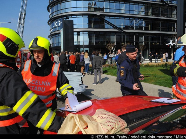 Cvičný požár likvidovaly jednotky pražských hasičů, foto Milan Pacík HZS Praha