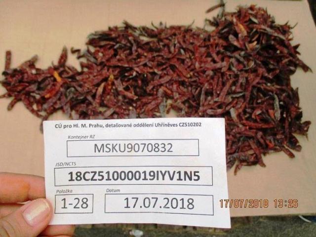 Chilli papričky z Indie se na tuzemském trhu neobjeví, foto: Celní úřad pro hlavní město Prahu