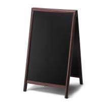 A stojan s křídovou tabulí 68x120 - hranatá - tmavě hnědá